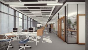 Lehigh University Health, Science and Technology Building interior workspace