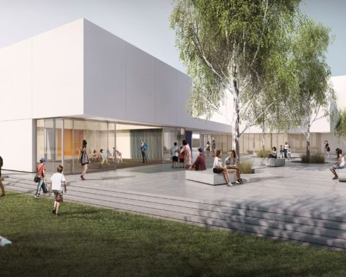 John Adams Middle School Performing Arts Center exterior rendering Courtyard